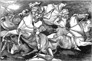 De Dioscuren (Castor en Pollux) strijden mee aan het meer van Regillus. (Gravure van J.R. Weguelin uit 1880)