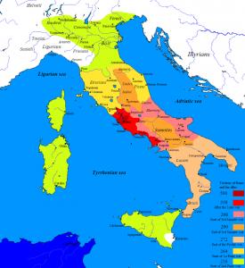 Romeinse expansie in Italië. Zoals te zien op de kaart reikte het Romeinse machtsgebied begin 5e eeuw v. Chr. nog niet veel verder dan de omgeving van Rome.