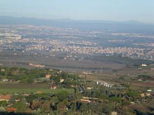 De mogelijke locatie van de veldslag. Het meer van Regillus is in de 4e eeuw v. Chr. drooggelegd.