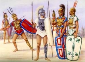 Romeinse soldaten uit de 5e eeuw v. Chr. Omdat veel plebejers zich geen wapenrusting konden veroorloven gold er alleen dienstplicht voor al wie dit wel kon.