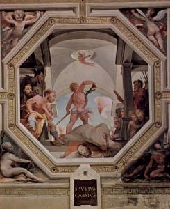 De executie van Spurrius Cassius Vecellinus, uitgebeeld door Domenico Beccafumi, op een fresco in Palazzo Pubblico in Siena. De schilder had duidelijk geen idee van de executiemethode.