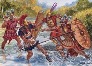 Romeinen uit de Vroege Republiek in gevecht met buren. Let op de helm in Griekse stijl en de Keltische helm.