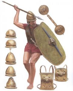 De eenvoudige soldaat uit de Fabische oorlog droeg geen pluimen of versieringen, maar een simpel licht pantser en een gemakkelijke helm.