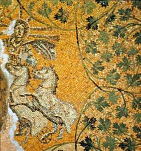 Dit mozaïek uit de Vaticaanse necropolis onder de Sint-Pieter omringt Jezus Christus met de attributen van Sol Invictus. Toch is kerst waarschijnlijk niet gewoon een kopie van het feest van de zonnegod.