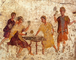 Dobbelen en andere gokspellen waren officieel verboden in het Romeinse Rijk. Maar met de Saturnaliën mocht iedereen dit openlijk doen.