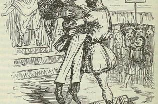 Komische afbeelding van de arrestatie van Publilius, hier afgebeeld in een 19e-eeuws officiersuniform en een leeuwenvacht.