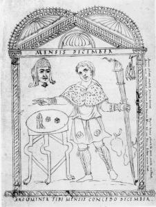 """Afbeelding uit de Kalender van Philocalus (354). De maand december toont de Saturnaliën middels dobbelstenen en een masker, met de tekst: """"Nu heb je toestemming, slaaf, om samen met je meester te spelen."""""""