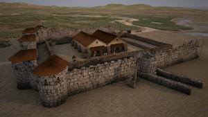 Voor de app van timetravel.world is men bij Romeins Katwijk uitgegaan van de 4e-eeuwse hypothese: een stenen muur met ronde torens en een horreum middenin.