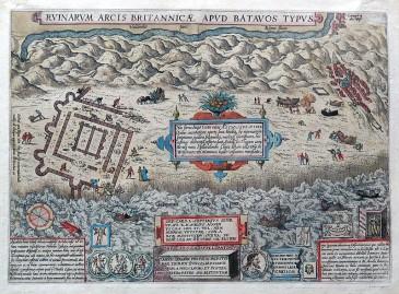 Abraham Ortelius maakte in 1562 een houtsnede van de opgraving van de Brittenburg voor Lodovico Guicciardini's beschrijving van de Ndeerlanden. De houtsnede werd in een latere druk door deze sterk gelijkende gravure vervangen.