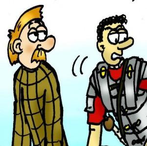 Onze Germaanse vriend Marbod houdt waarschijnlijk ook niet van onnodig veel tekst in een strip. Zijn vriend Marcus daarentegen...