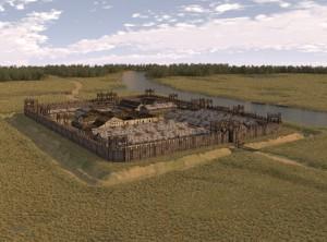 Het castellum van Bodegraven lag bij een zijstroom, zoals te zien op de app van Timetravel.world.
