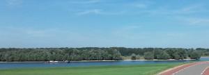 Vanaf de Rijnbandijk heb je bij Driel en Randwijk goed uitzicht over de Rijn. De overkant is heel wat heuvelachtiger.
