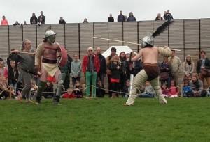 Thraex tegen hoplomachus! Beide gladiatoren zouden in plaats van tegen elkaar ook tegen een murmillo kunnen vechten.
