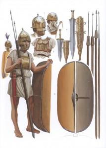 De hastatus draagt nog een vrij lichte uitrusting en is een jaar of 20. De principus en triarius zijn veel meer ervaren.