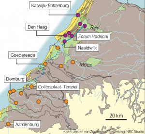 De Romeinse nederzettingen en forten aan en nabij de kust.