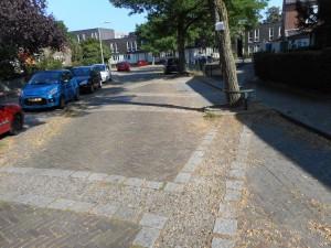 Markeringen op de straatstenen geven de contouren van de tempels van Noviomagus aan.
