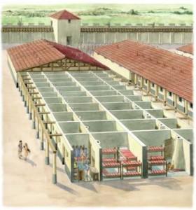Met minstens 4000 soldaten wemelde het in de castra uiteraard van de barakken.