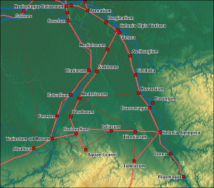 De Romeinse wegen in het oosten van Germania Inferior. Sablones en Blariacum lagen aan weerszijden van de Maas.