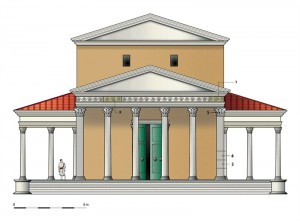 Reconstructietekening van de tempel van Kessel, met afmetingen erbij. Welke godheid er aanbeden werd is onbekend.