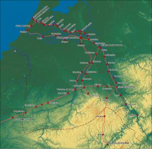 De belangrijkste Romeinse wegen in Nederland. Er waren er vast nog veel meer, maar de meeste waren waarschijnlijk paadjes.