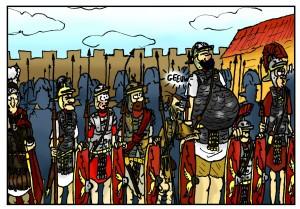 Tribuun Candidus, de commandant van het detachement, maakt kennis met de Buitenbeentjes.